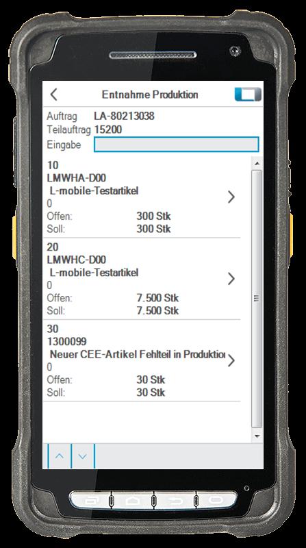 L-mobile digitalizált raktárlogisztika L-mobile ready for proALPHA Kiegészítő modul Kiadás gyártásba mobil felület
