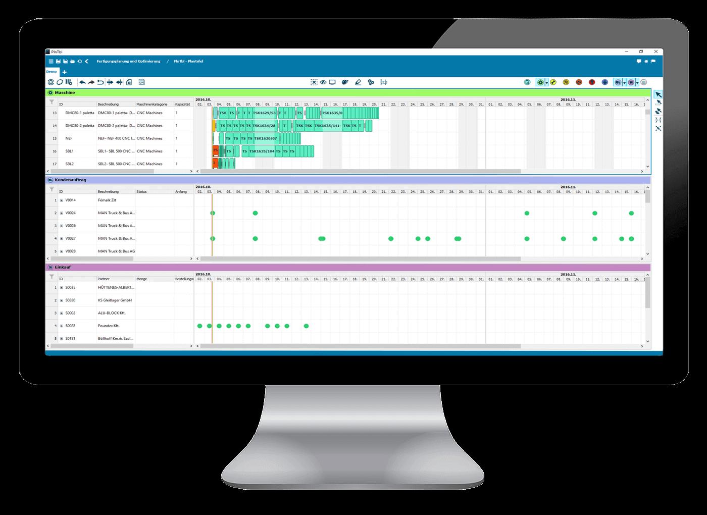 L-mobile Digitalisierte Produktion Produktionsplanung APS Optimierte Fertigungsplanung Ansicht Kundenauftrag und Einkauf