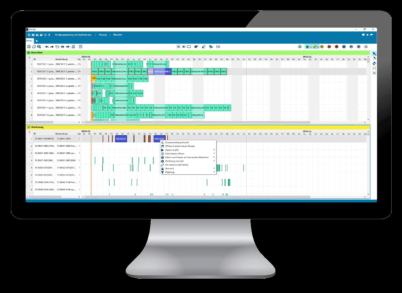 L-mobile Digitalisierte Produktion Produktionsplanung APS Optimierte Fertigungsplanung Maschinen und Werkzeugansicht