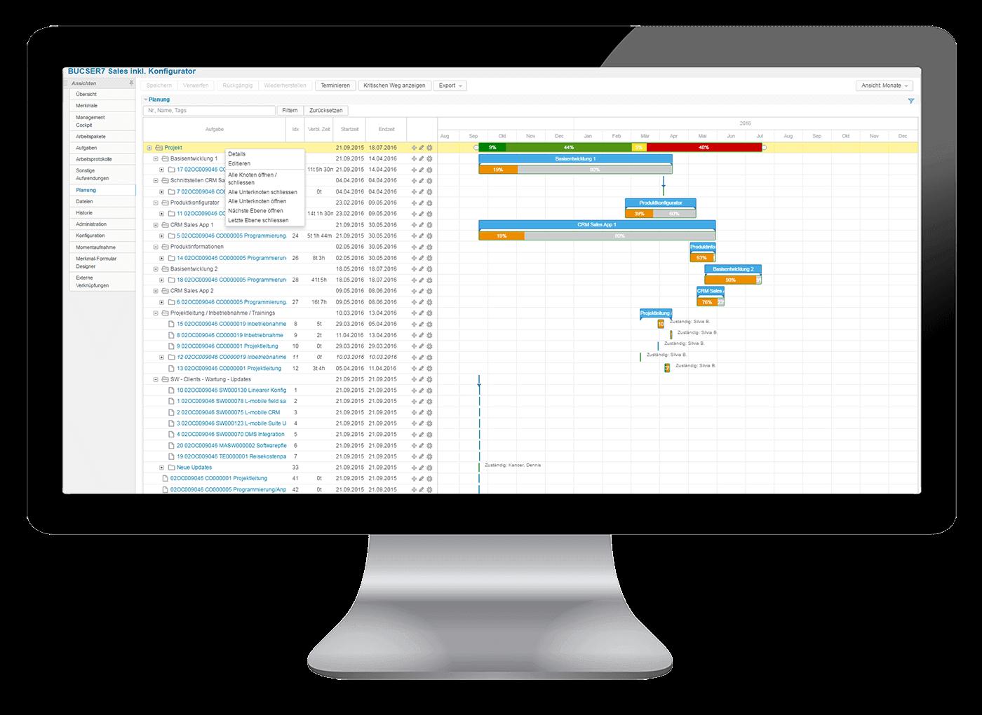L-mobile Vernetztes Projektmanagement Projektplanung Funktionen Grafische Projektsteuerung