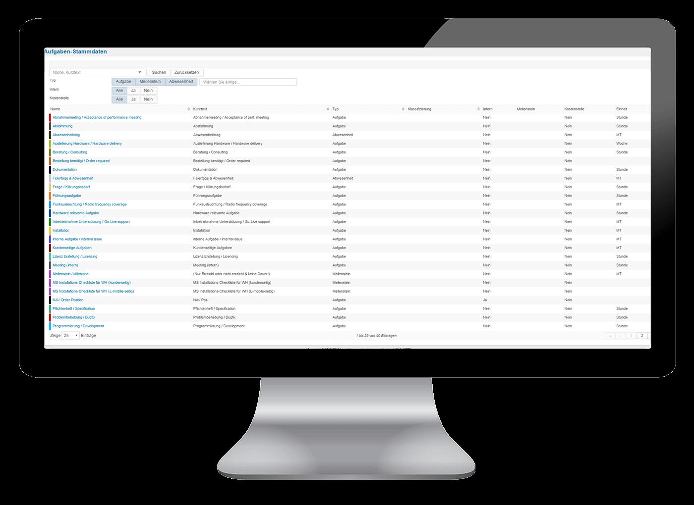 L-mobile Vernetztes Projektmanagement Projektplanung Funktionen Stammdatenverwaltung
