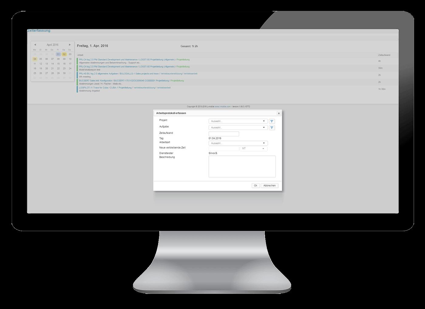 L-mobile Vernetztes Projektmanagement Projektplanung Funktionen Zeiterfassung