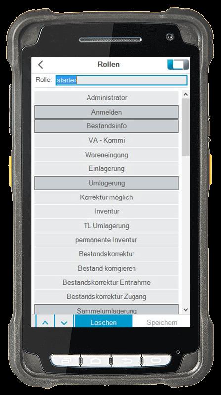 L-mobile Digitalisierte Lagerlogistik L-mobile ready for proALPHA Erweiterungsmodul Benutzerrollen und Rollenverwaltung mobile Oberfläche