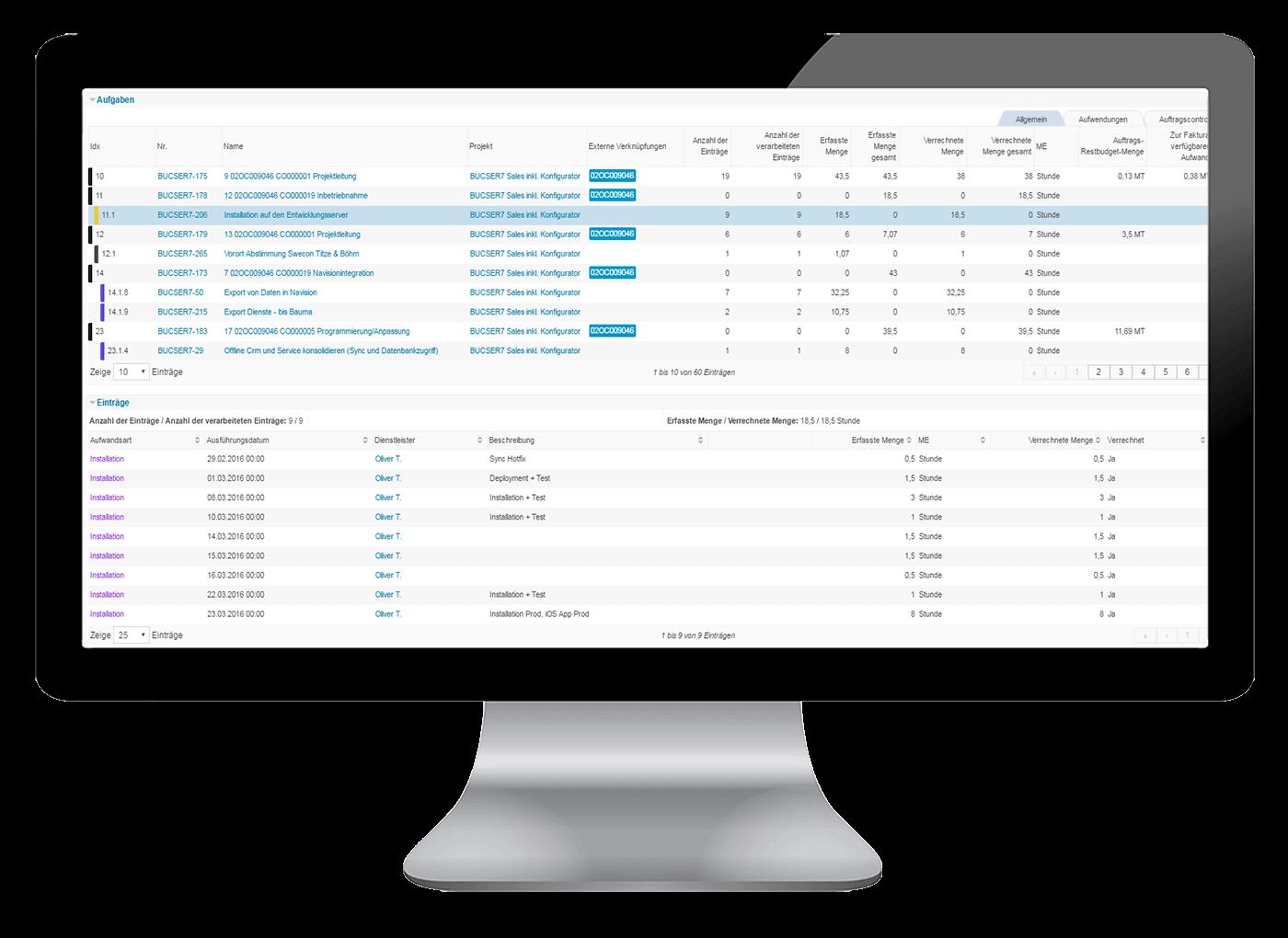 L-mobile Vernetztes Projektmanagement Projektplanung Funktionen optionale Modul Verrechnung von Leistungen
