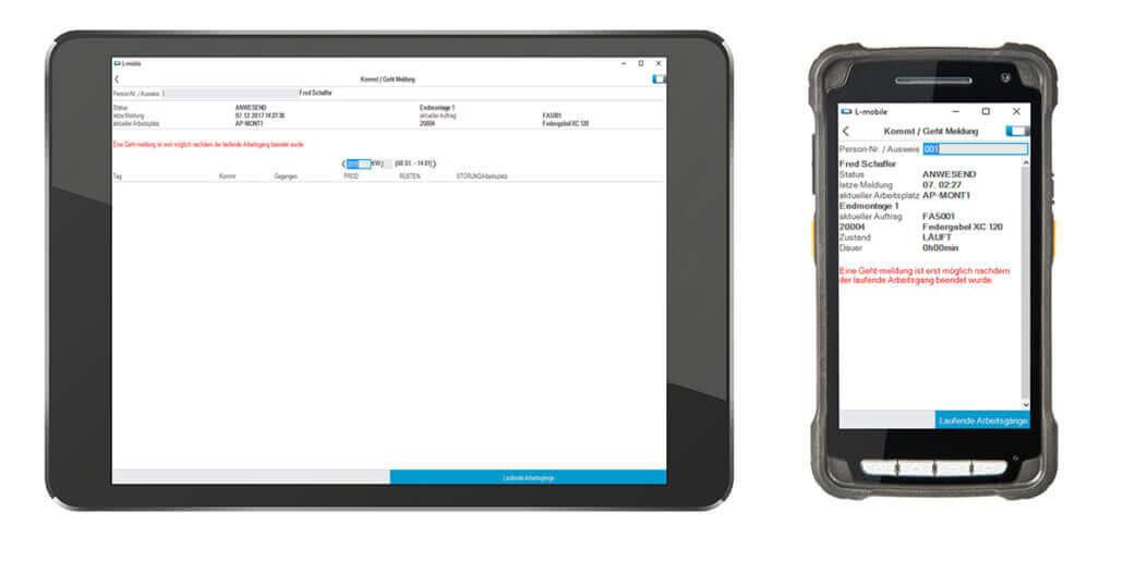 L-mobile Digitalisierte Produktion Datenerfassung BDE Kommt_geht_Meldung_Gesamt