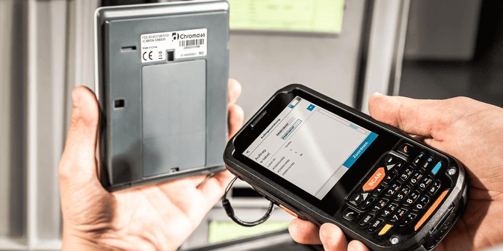 L-mobile Digitalisierte Produktion Materialfluss e-label Auftrag lösen