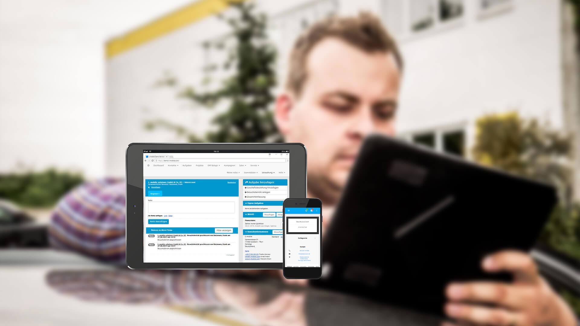 L-mobile Mobiler Vertrieb Funktionen vollintegriertes CRM
