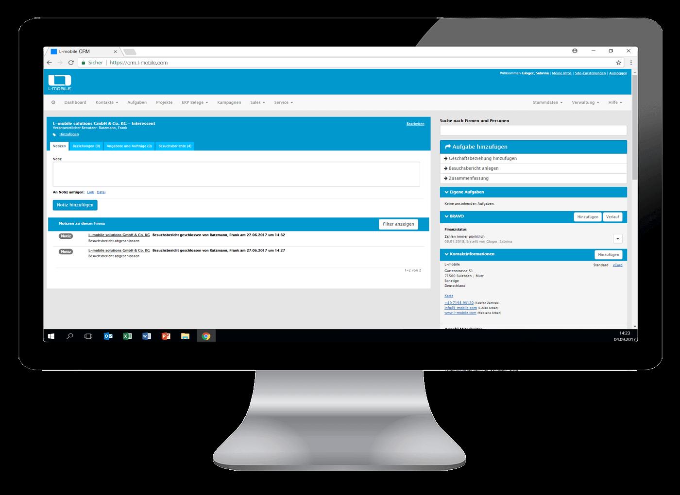L-mobile Mobiler Vertrieb Funktionen vollintegriertes CRM Alle relevanten Daten zentral in Ihrer Kundenverwaltung CRM