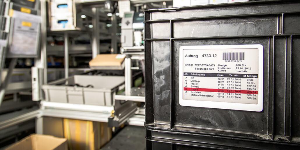 L-mobile e-label: Papierlose Produktion dank digitalem Fertigungsauftrag durch elektronische Etiketten