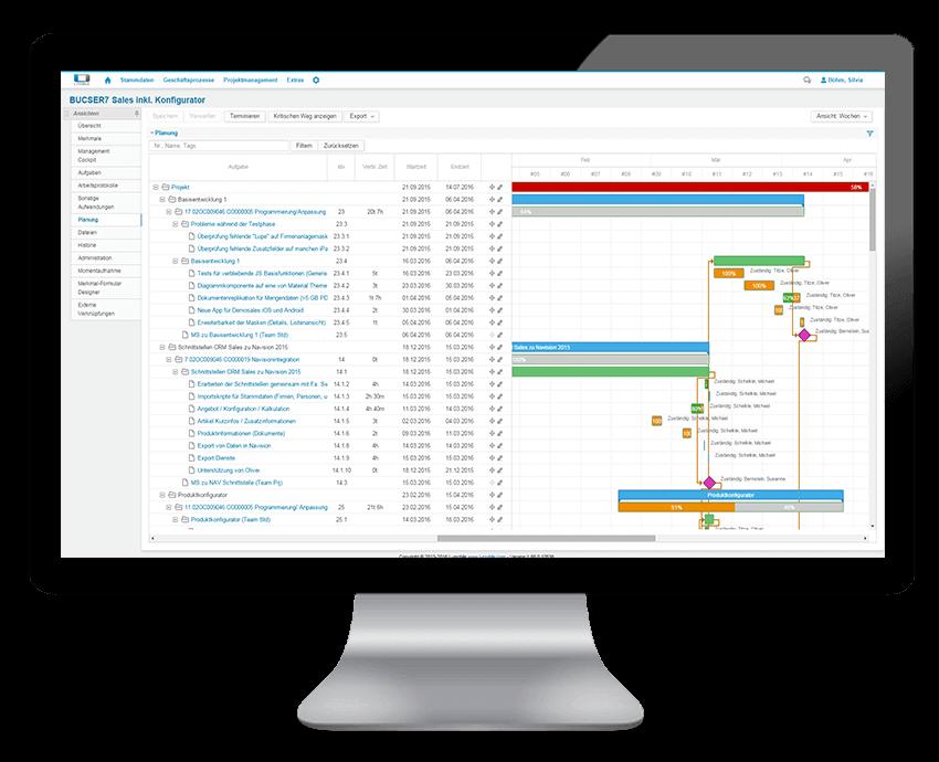 L-mobile Vernetztes Projektmanagement Desktop Oberfläche