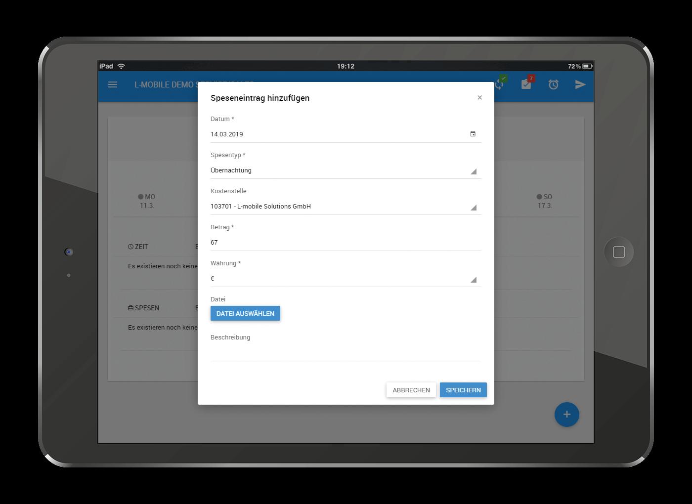 L-mobile Mobiler Vertrieb Funktionen Spesen- und Reisekostenabrechnung Spesen- und Reisekostenabrechnung einfach gemacht