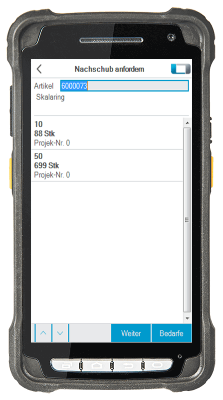L-mobile Digitalisierte Lagerlogistik warehouse ready for proALPHA Erweiterungsmodul Nachschub anfordern mobile Oberfläche