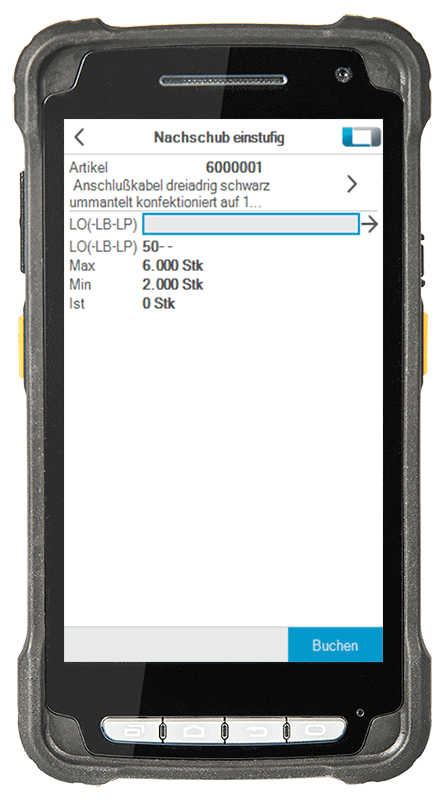 L-mobile Digitalisierte Lagerlogistik warehouse ready for proALPHA Erweiterungsmodul Nachschub einstufig mobile Oberfläche