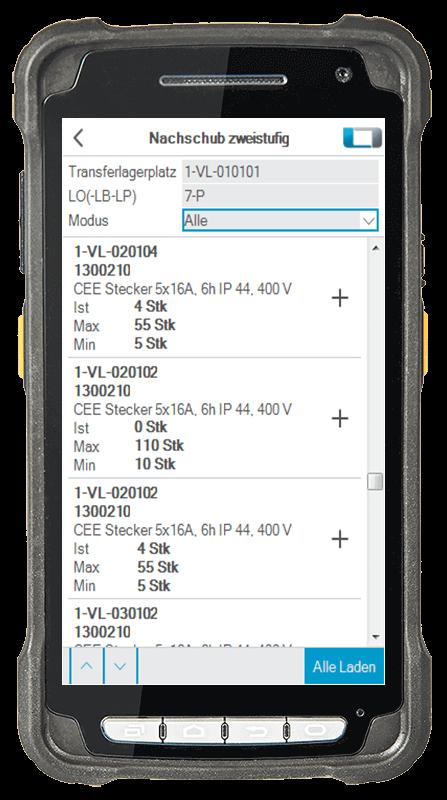 L-mobile Digitalisierte Lagerlogistik warehouse ready for proALPHA Erweiterungsmodul Nachschub zweistufig mobile Oberfläche