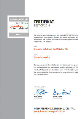 L-mobile Auszeichnung Innovationspreis IT 2018 Best of Mobile