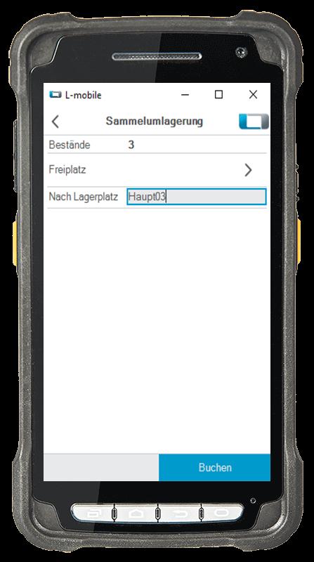 L-mobile Digitalisierte Lagerlogistik warehouse ready for sage OL Evo Basismodul Sammelumlagerung mobile Oberfläche