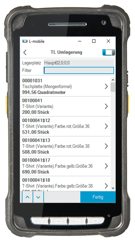 L-mobile Digitalisierte Lagerlogistik warehouse ready for sage OL Evo Basismodul TL-Umlagerung mobile Oberfläche