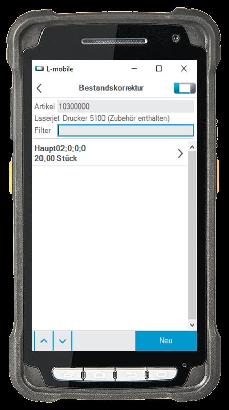 L-mobile Digitalisierte Lagerlogistik L-mobile ready for sage OL Evo Erweiterungsmodul Bestandskorrektur mobile Oberfläche