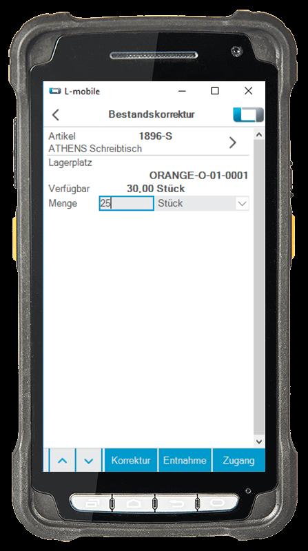 L-mobile Digitalisierte Lagerlogistik L-mobile ready for Infor COM Basismodul Anonyme Buchung & Bestandskorrektur mobile Oberfläche