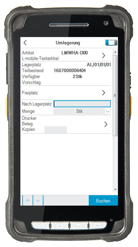 L-mobile Digitalisierte Lagerlogistik warehouse ready for AX Basismodul Einfache Umlagerung mobile Oberfläche