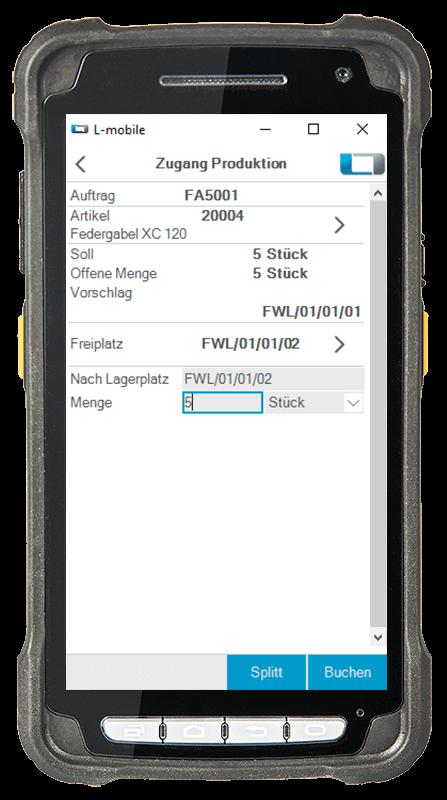 L-mobile Digitalisierte Lagerlogistik L-mobile ready for Infor COM Basismodul Zugang Produktion mobile Oberfläche
