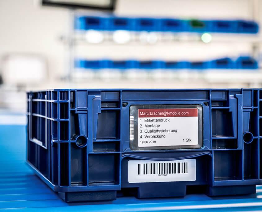 L-mobile e-label: Elektronische Etiketten als digitaler Fertigungsauftrag am KLT