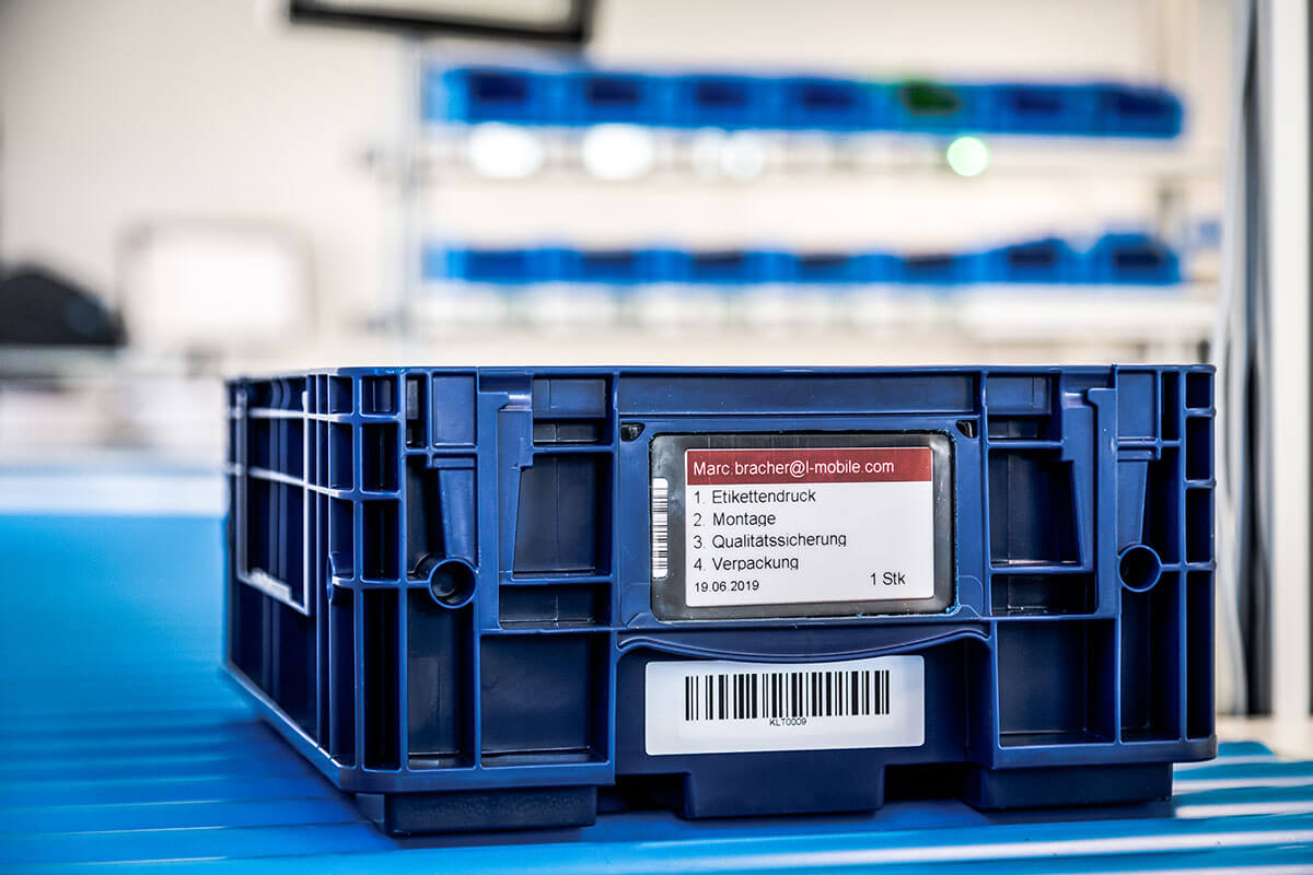 L-mobile Digital Factory - die papierlose Produktion KLT e-label elektronische Etiketten Produktionsauftrag