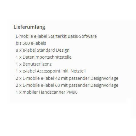 L-mobile e-label starterkit elektronisches Etikett Lieferumfang