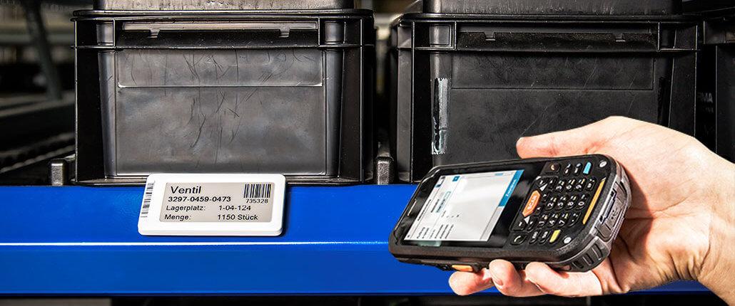 L-mobile e-label elektronisches Etikett im Lager - Materialfluss verfolgen