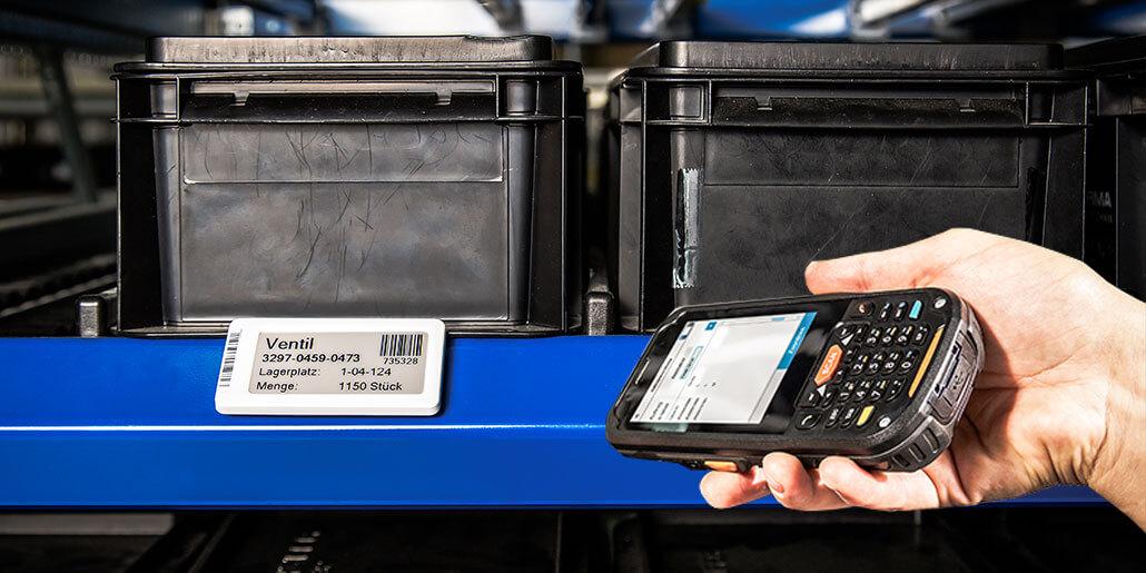 L-mobile e-label können einem beliebigen Lagerplatz zugeordnet werden