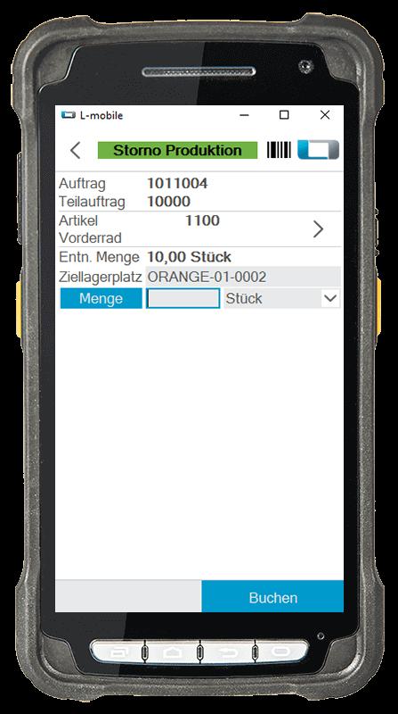 L-mobile warehouse ready for MSDynamics Gyártás sztornó kiegészítő modul