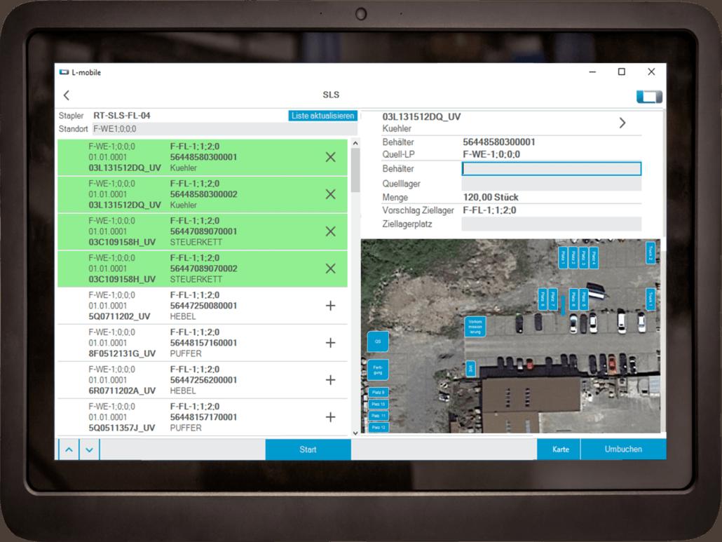 L-mobile SLS Staplerleitsystem Kartenansicht Staplerverwaltung