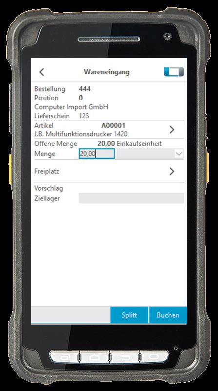 Digitalisierte Lagerlogistik L-mobile warehouse ready for SAP Wareneingang Artikel einlagern