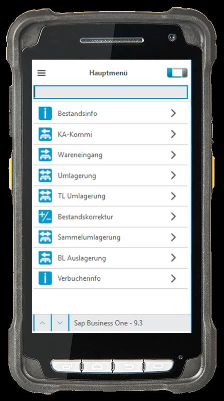 Digitalisierte Lagerlogistik L-mobile warehouse ready for SAP Scanner Hauptmenü Wareneingang