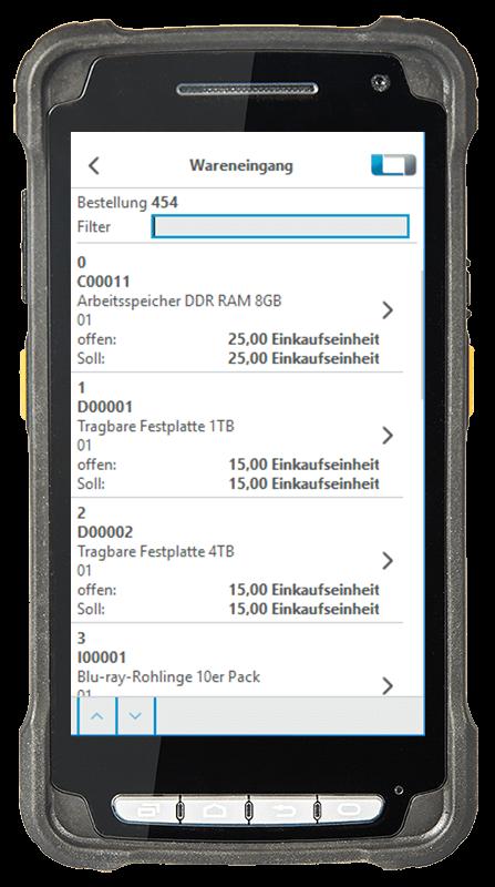 Digitalisierte Lagerlogistik L-mobile warehouse ready for SAP Business One Wareneingang mehrere Artikel einlagern