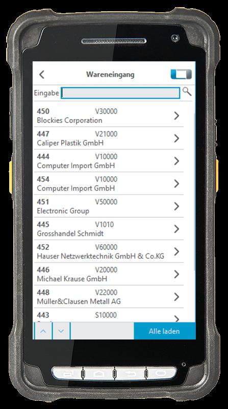 Digitalisierte Lagerlogistik L-mobile warehouse ready for SAP Wareneingang Bestellungen anzeigen