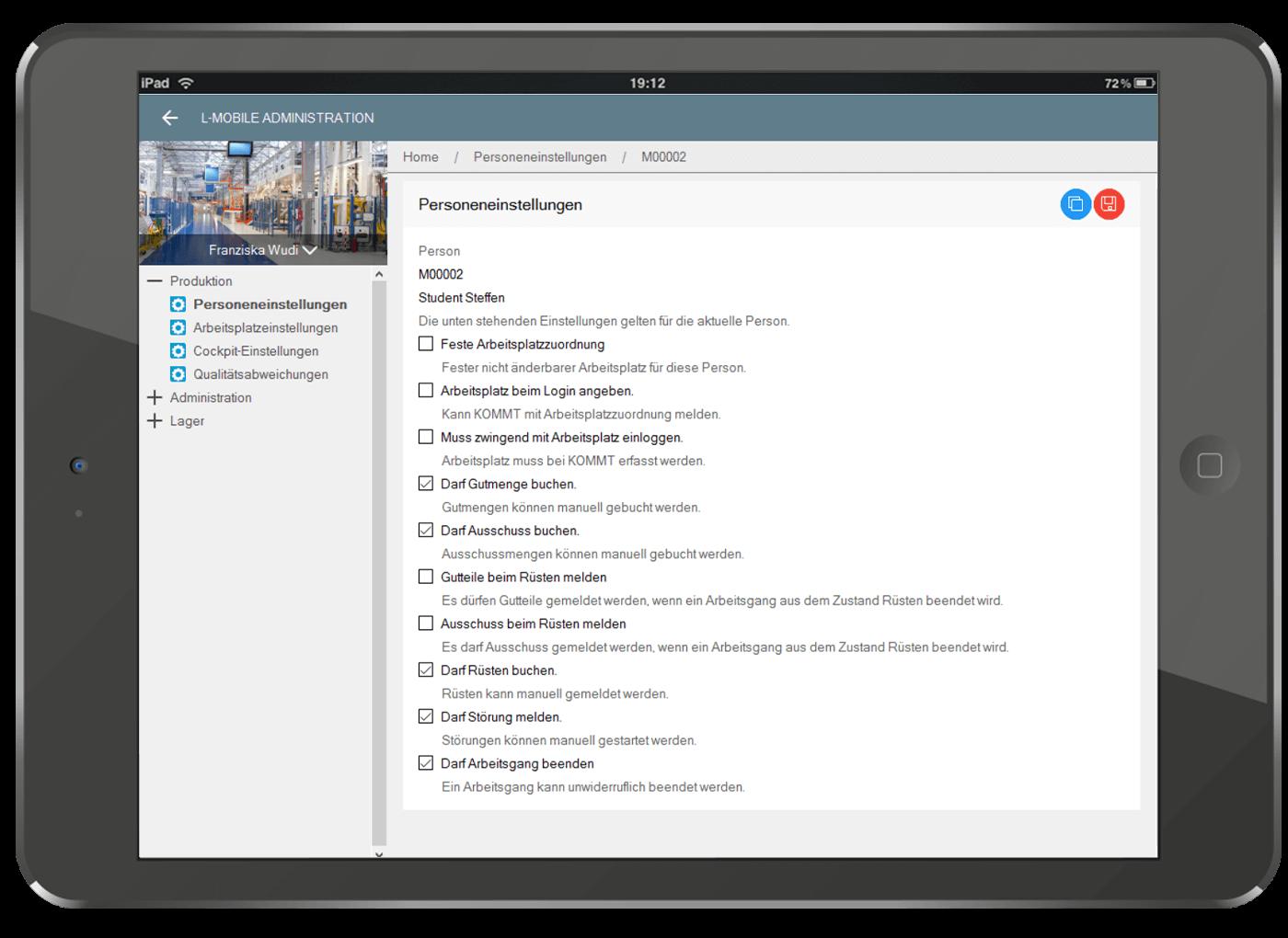 L-mobile Starterpaket BDE Microsoft Dynamics Arbeitsgang laeuft Benutzer- und Rechteeinstellungen