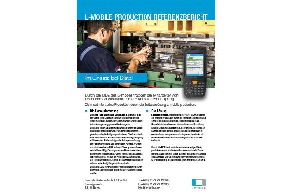 Referenzbericht – L-mobile production – Stanz- und Biegetechnik Distel GmbH & Co KG