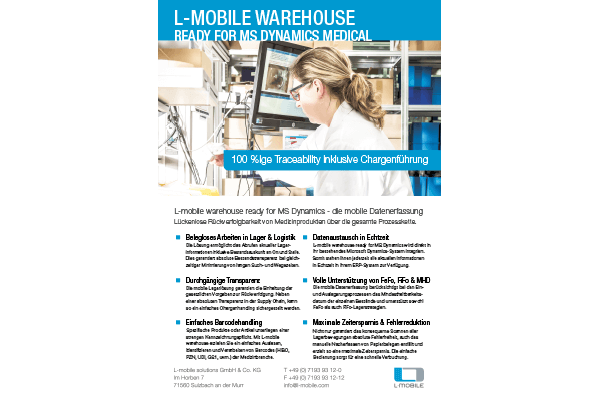 Flyer – L-mobile warehouse ready for MS Dynamics – Medical